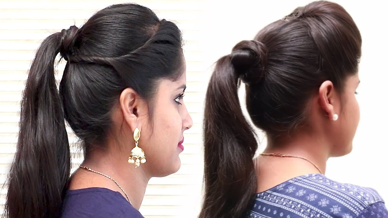 3 easy ponytail hairstyles for school, college || prom ponytail for medium hair || hair style girl