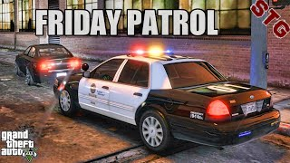 PLAY GTA 5 AS A COP - FRIDAY PATROL( GTA 5 ROLEPLAY MODS)