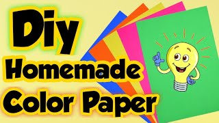 Diy Homemade Color Paper - How to make color Craft paper at home   Diy Colored paper making at home.