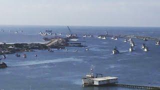 Nossa paralisação chega ao mar, frota Pesqueira fechando o porto de Itajaí e Navegantes