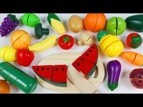 Thumbnail: LEARN FRUITS and Vegetable Names Toy Velcro Cutting Fruits and Veggies Playset!