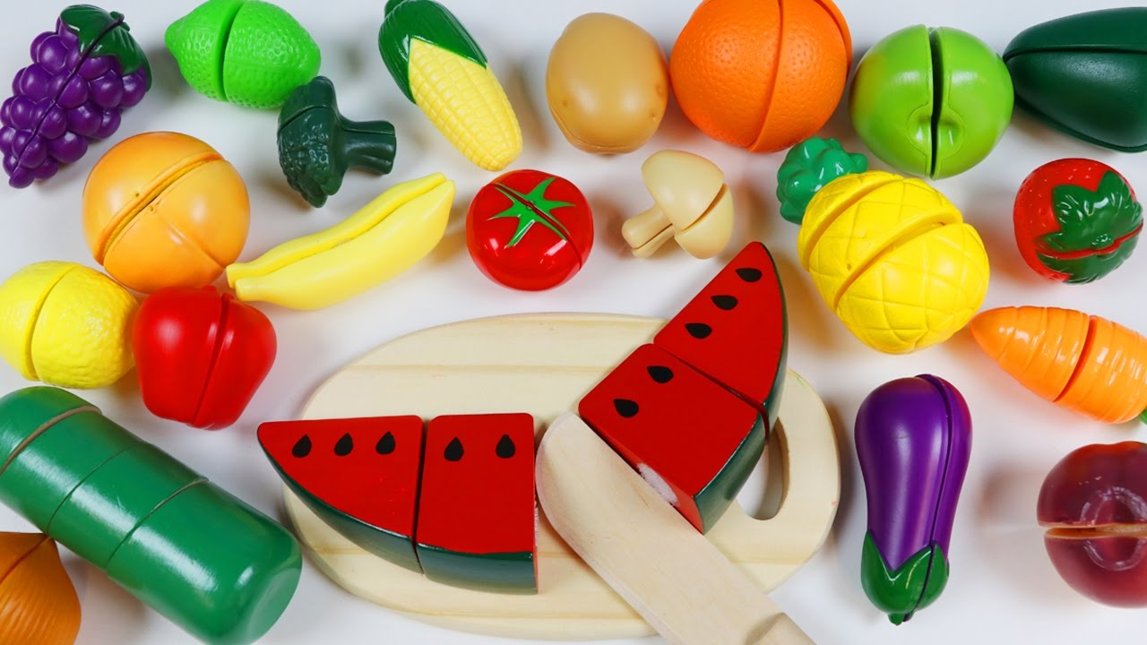 Learn Fruits And Vegetable Names Toy Velcro Cutting