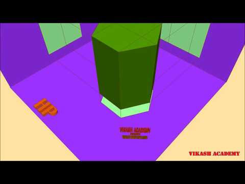 Orthographic projection of hexagonal prism through animation