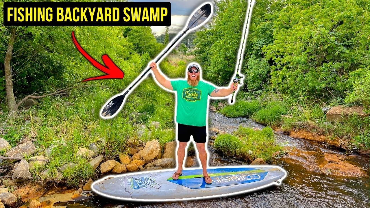Fishing My SKETCHY Backyard Swamp w/ PADDLE BOARDS (Search for the Missing Kayak)