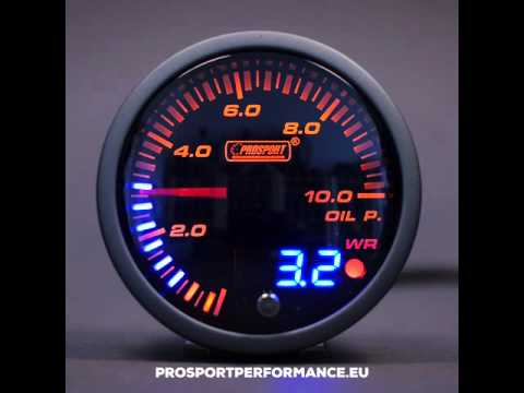 Prosport Oil pressure gauge 60mm JDM Series BAR Warning