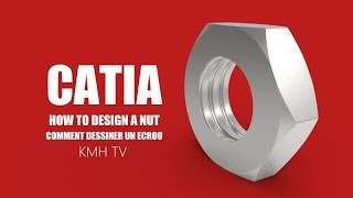 CATIA free online training | how to design a nut for beginners | part design tutorial for beginners thumbnail