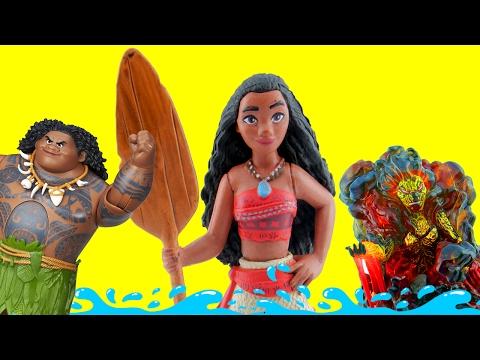 Learn with Moana #10 Compare Big Small Disney Toys Moana & Friends compare rocks  Lava Monster comes