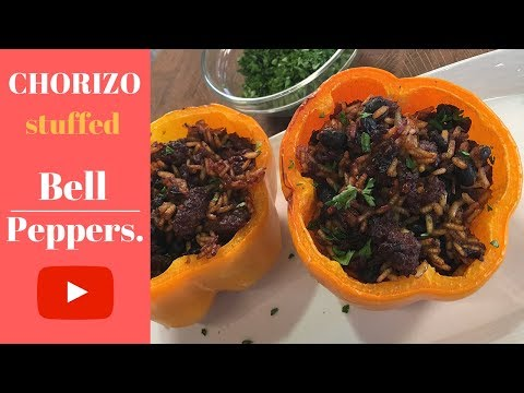 Chorizo stuffed bell peppers are on the menu today!
