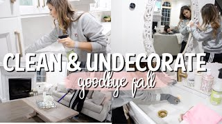 CLEAN & UNDECORATE  WITH ME   MESSY HOUSE! CLEANING MOTIVATION
