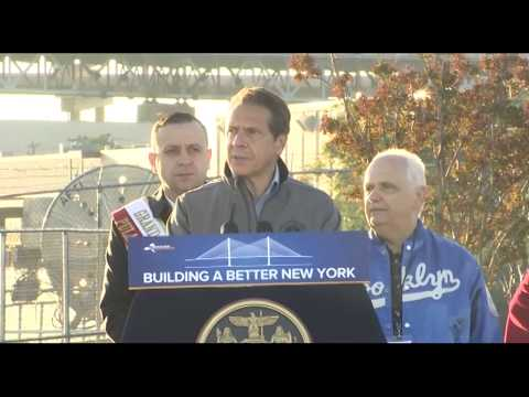 Governor Andrew Cuomo at the Kosciuszko Bridge