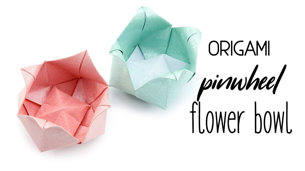 origami pinwheel flower bowl tutorial paper kawaii youtube