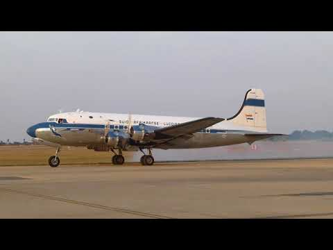 Engine start-up of a Skyclass Aviation DC-4 at Pretoria Wonderboom Airport