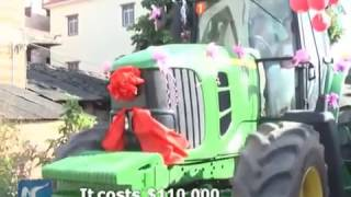 A less-than-ordinary wedding carriage! Chinese man takes bride to ceremony in big  tractor