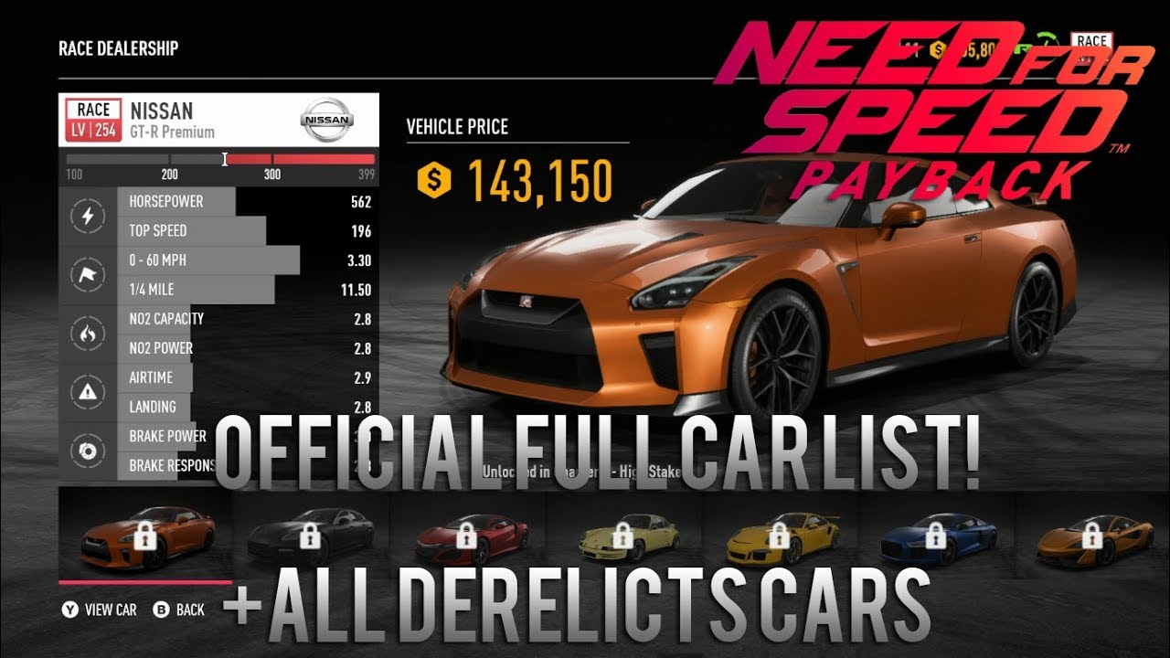 need for speed payback official full complete car list all derelicts cars w prices. Black Bedroom Furniture Sets. Home Design Ideas