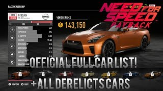 Need For Speed Payback | Official Full Complete Car List + All Derelicts Cars w/ Prices [Gameplay]