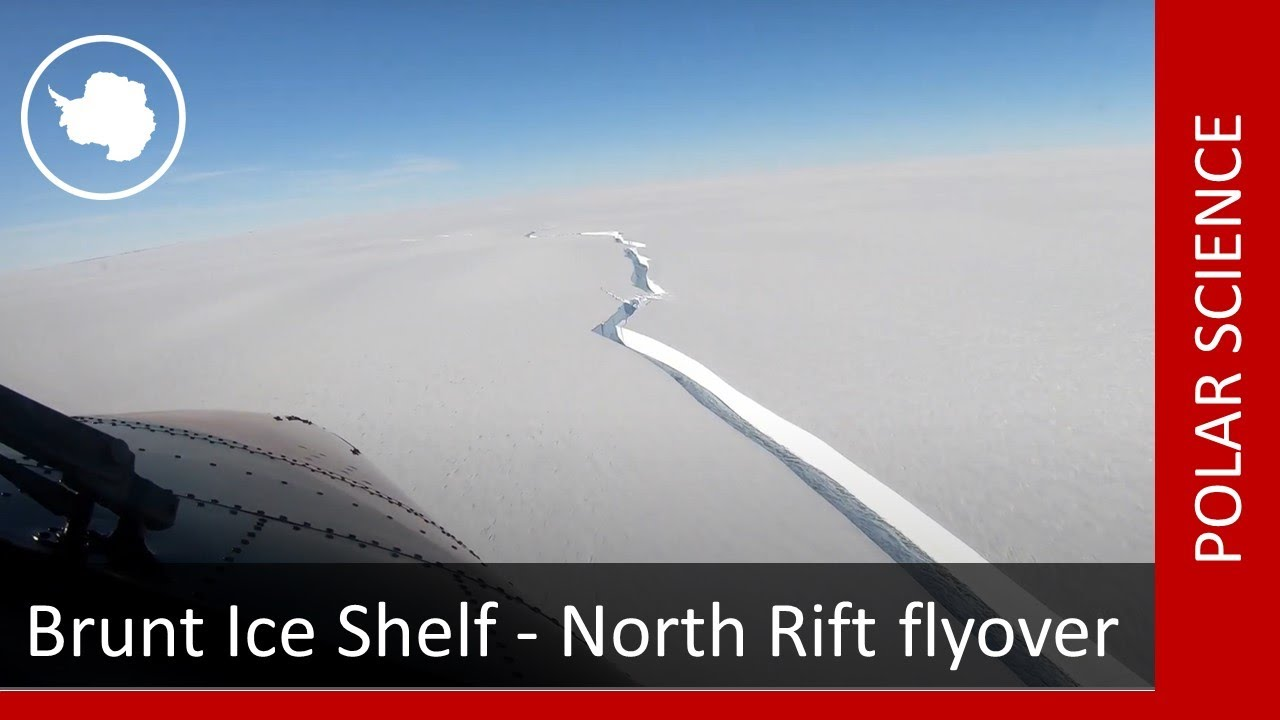 Brunt Ice Shelf - North Rift flyover (16 February 2021)