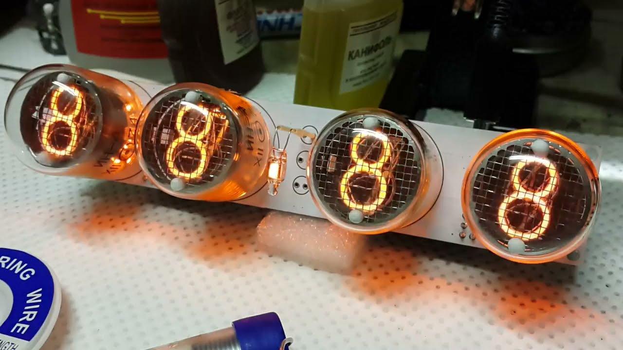 Часы на лампах ИН-4 (обзор работы) - YouTube