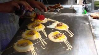 Quail egg crepes