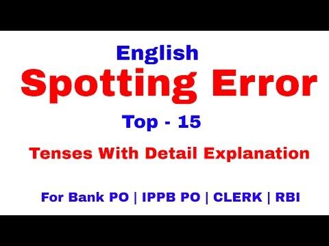 Spotting Error on Tenses  in English Tricks For Bank PO   Clerk   IPPB PO [In Hindi]