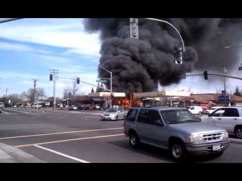 Elk grove gas station caught on fire