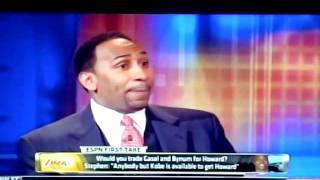 stephen a smith goes crazy after skip bayless says andrew bynum is better than dwight howard