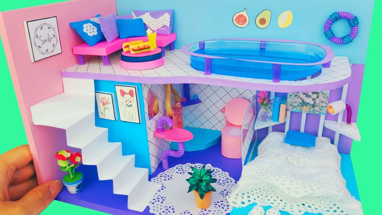 DIY Miniature Cardboard House bathroom, bedroom, livingroom, swimming pool