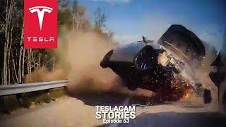 TESLA AUTOPILOT VS BAD DRIVERS - 25 CRASHES, FAILS & SAVES   TESLACAM STORIES #63