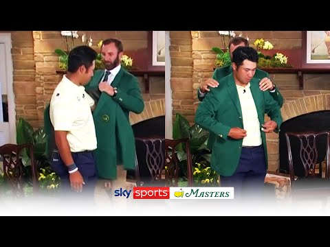 Hideki Matsuyama reacts to winning Masters and is presented with green jacket by Dustin Johnson - Sky Sports Golf
