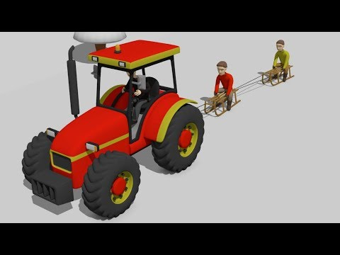 #Red Tractor Assembly | Kids on sleigh ride | Children sledding -  Winter snow fun | Traktor i Śnieg