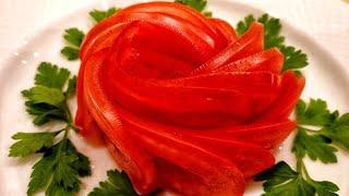 как сделать из помидора розу