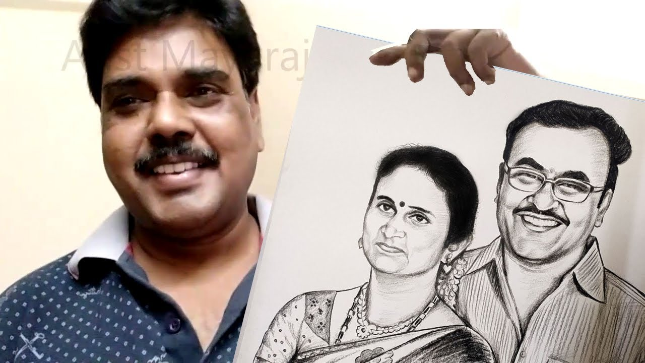 Custom Order Couple Portrait Order From Chennai Drawing