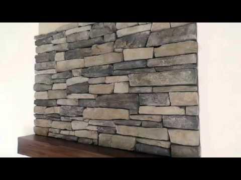 Rock Stone Fireplace Installing Veneer Stone Youtube