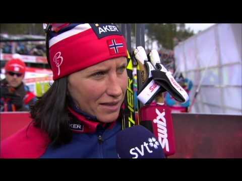 Marit Bjørgen   interview after skiathlon   VM Falun 2015