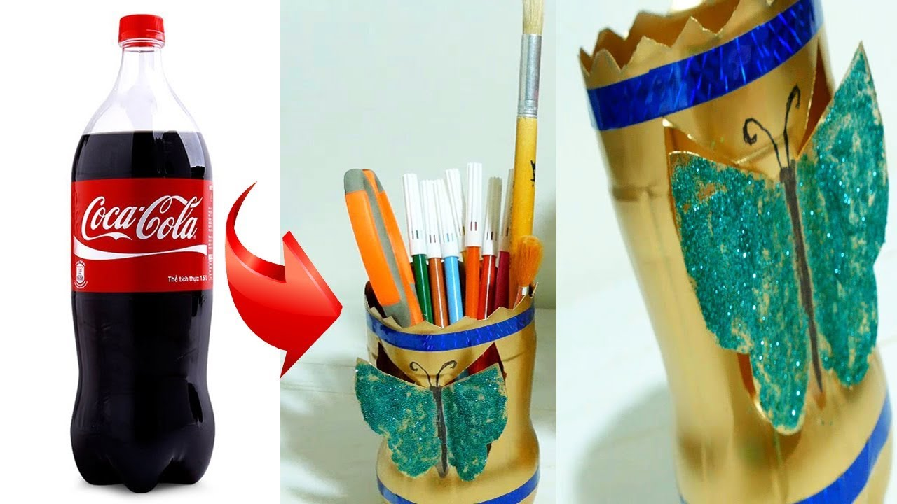 How To Make A Pen Box With Old Plastic Bottle Art And Craft Ideas
