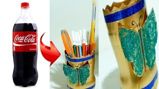 How To Make a Pen Box With Old Plastic Bottle - Art and Craft Ideas for Projects