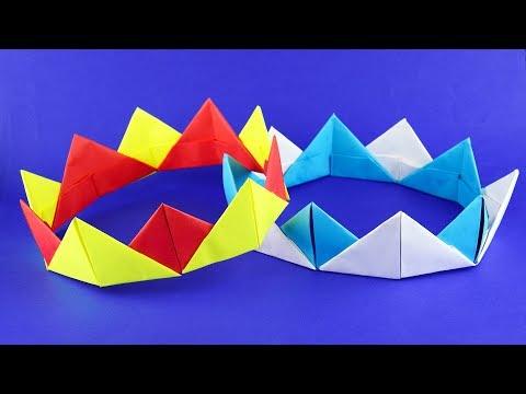 Как сделать корону из бумаги. Модульное оригами. Пошаговая сборка, мастер класс.