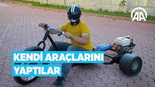 'Patpat' motoru ve bisiklet parçalarıyla kendi araçlarını yaptı