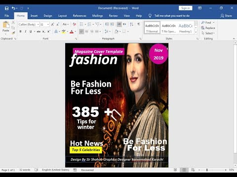 How To Make Magazine Cover page  & Title Page Design on Ms word 2019  Hindi