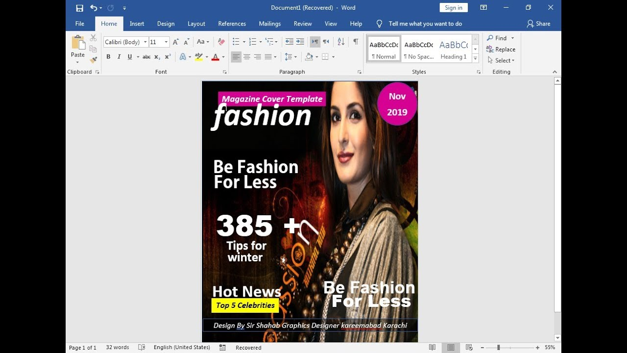 how to make magazine cover page  u0026 title page design on ms