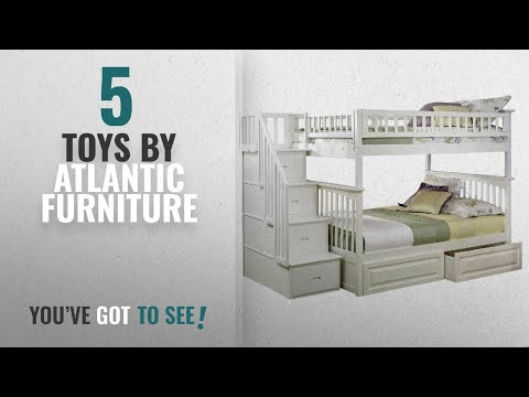 Top 10 Atlantic Furniture Toys [2018]: Columbia Staircase Bunk Bed with 2 Raised Panel Bed Drawers,