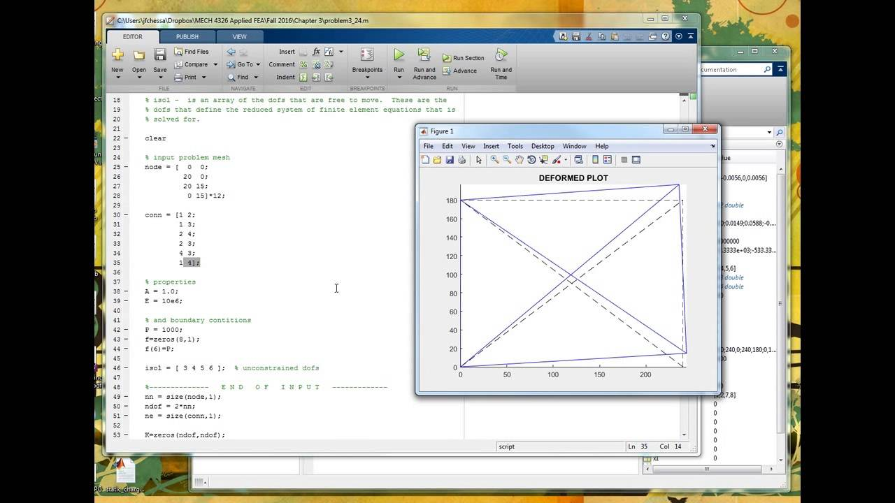 A basic finite element program in Matlab, part 1 of 2