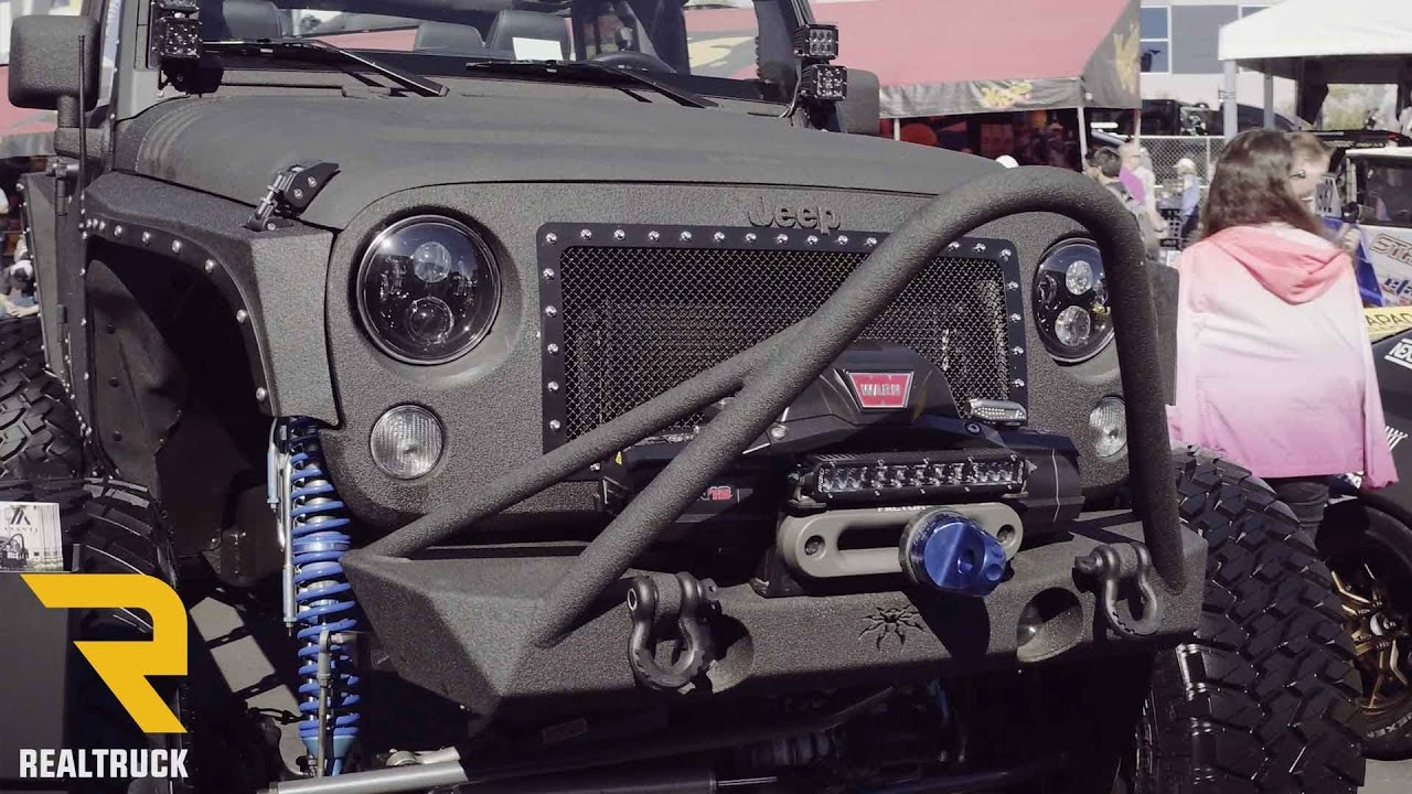 "Jeep Wrangler Rhino >> Custom 4 door Jeep JK Rhino Lined with Bronze Asanti Wheels 40"" inch Trail Grapplers SEMA 2016 ..."