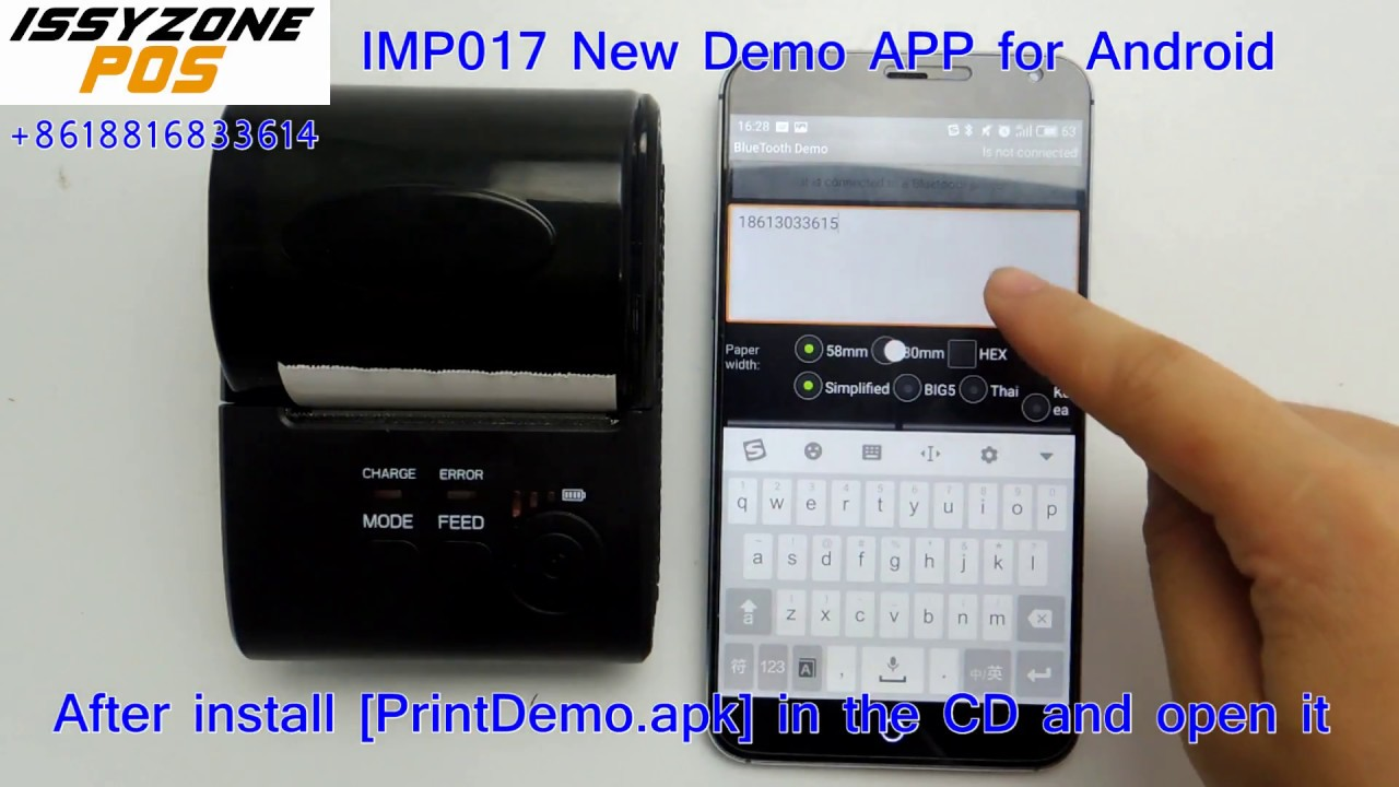 IMP017 New 58mm Bluetooth printer demo APP how to connect with Android/IOS  devices