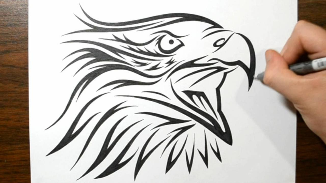 How To Draw A Tribal Eagle Tattoo Design Youtube