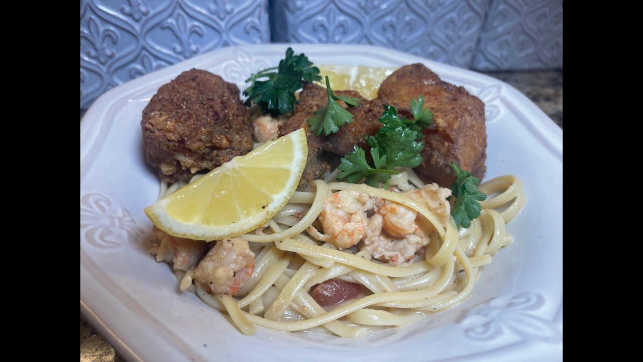 Fried Monk Fish and Langostino Pasta