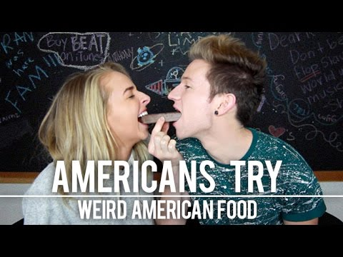 AMERICANS TRY WEIRD AMERICAN FOOD