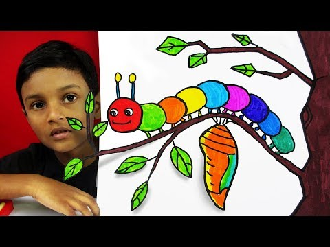 How To Draw A Caterpillar For Kids With Mukesh Go School Tv