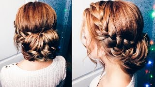 ◉ ВЕЧЕРНЯЯ ПРИЧЕСКА ◉ Пучок на средние волосы ◉  Easy hairstyle with braid ◉   LOZNITSA