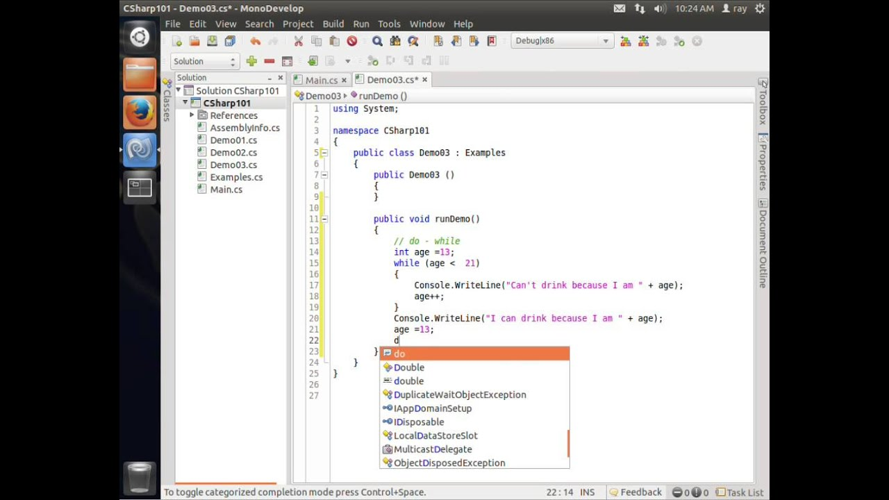 C Sharp on Ubuntu MonoDevelop Video 5