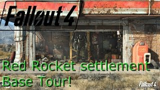 Fallout 4 Huge Red Rocket Garage Base tour with shops and Local Leader Perk Xbox one